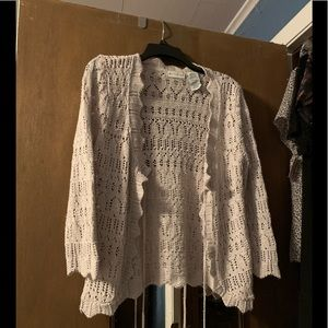 White Stag Crocheted Sweater with tie front